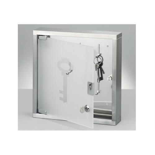 zeller present schl sselkasten edelstahl mit glast r mit 8 haken 4003368138909 ebay. Black Bedroom Furniture Sets. Home Design Ideas
