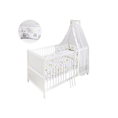 komplett babybett 70x140 wei motiv eule mit matratze bettw sche himmel uvm ebay. Black Bedroom Furniture Sets. Home Design Ideas